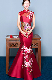 Wine Red Mermaid Qipao / Cheongsam Dress with Floral Embroidery