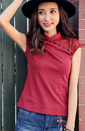 Red Qipao / Cheongsam Top in Stretch Cotton