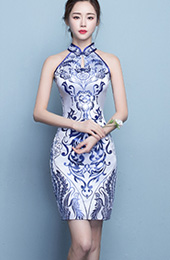 Halter Qipao / Cheongsam Dress in Blue and White Pattern