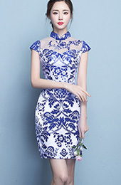 Short Qipao / Cheongsam Dress in Blue and White Floral Print