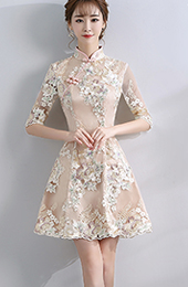 Embroidered A-line Qipao / Cheongsam Dress with Half Sleeve