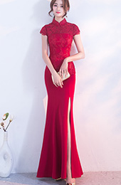 Long Split Front Qipao / Cheongsam Gown with Lace Top