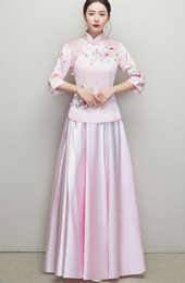 Pink Embroidered Bridesmaids Qun Kwa
