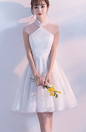 Short Bridesmaids Illusion Wedding Qipao / Cheongsam Dress