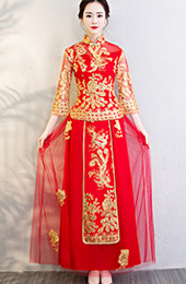 Chinese Wedding Qun Kwa Embroidered Phoenix Top & Maxi Skirt