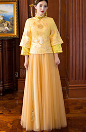 Golden Chinese Wedding Qun Kwa Embroidered Top & Maxi Skirt