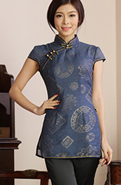 Qipao / Cheongsam Top Blouse in Retro Printing