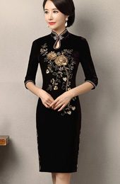 Sequined Velvet Midi Qipao / Cheongsam Dress