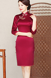 Rose Red Silk Midi Qipao / Cheongsam Dress
