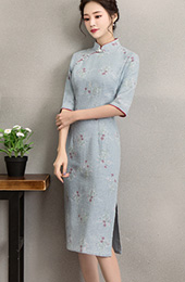 Blue Floral Linen Midi Qipao / Cheongsam Dress