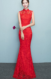 Red Full Length Lace  Qipao / Cheongsam Prom Dress