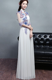 Custom Made White Embroidered Long Qipao / Cheongsam Dress