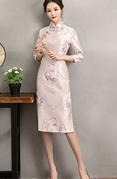Pink Woven Floral Midi Qipao / Cheongsam Dress for Winter