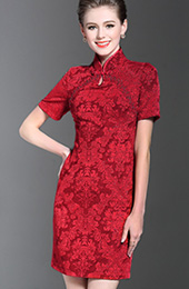 Red Sequined Lace Qipao / Cheongsam Evening Dress