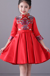 Kids Red Cheongsam / Qipao Dress with Full Skirt