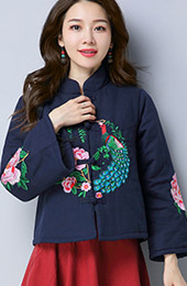 Padded Qipao Tang Jacket with Floral & Bird Embroidery