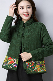 Cotton Padded Embroidered Qipao Tang Jacket