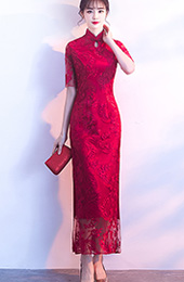 Embroidered Long Qipao / Cheongsam Dress with Split