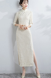 Champagne Lace Long Qipao / Cheongsam Dress with Split