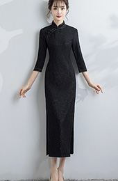 Black Lace Long Qipao / Cheongsam Dress with Split