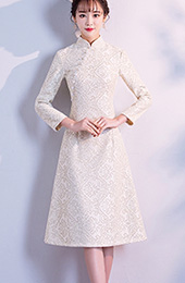 Beige A-Line Lace Qipao / Cheongsam Dress