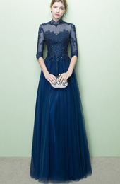 Blue Sequined Qipao / Cheongsam Evening Dress with Tulle Skirt
