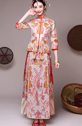 Pink Embroidered Chinese Wedding Qun Kwa