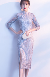 Gray Embroidered Split Qipao / Cheongsam Evening Dress