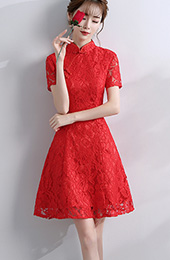 A-Line Short Lace Qipao / Cheongsam Evening Dress