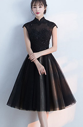 Black Midi Qipao / Cheongsam Evening Dress with Tulle Skirt