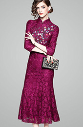 Purple Embroidered Lace Qipao / Cheongsam Dress