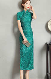 Green Lace Long Split Qipao / Cheongsam Dress with Beads