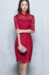 Short Half Sleeve Lace Qipao / Cheongsam Party Dress