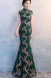 Green Embroidered Overlay Qipao / Cheongsam Evening Dress