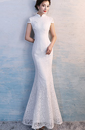 White Lace Long Qipao / Cheongsam Wedding Dress