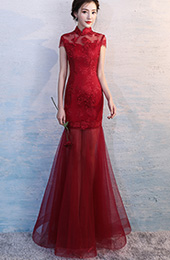 Mesh Qipao / Cheongsam Wedding Dress with Floral Embroidery
