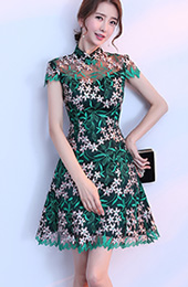 Green Embroidered A-Line Qipao / Cheongsam Party Dress