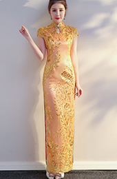 Pink Sequined Long Qipao / Cheongsam Evening Dress