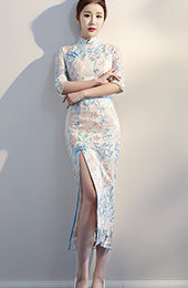 Split Front Embroidered Qipao / Cheongsam Evening Dress