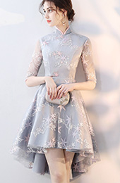 Embroidered Star Qipao / Cheongsam Dress with High Low Hem