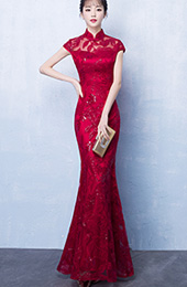 Wine Red Sequined Fishtail Qipao / Cheongsam Wedding Dress