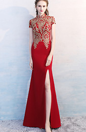 Custom Made Qipao / Cheongsam Evening Dress with Golden Appliques