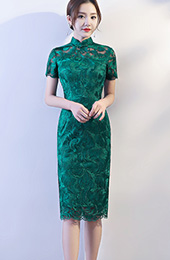 Green Mid Lace Qipao / Cheongsam Party Dress
