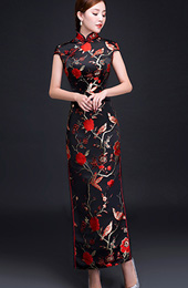 Woven Floral Qipao / Cheongsam Evening Dress