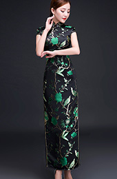 Woven Green Floral Qipao / Cheongsam Evening Dress