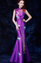 Purple Embroidered Fishtail Qipao / Cheongsam Evening Dress with Cutout Back