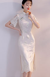 White Lace Mid Qipao / Cheongsam Party Dress with Bell Sleeve