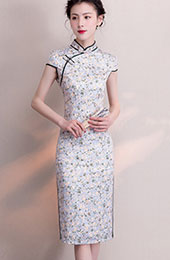 Gray Floral Casual Midi Qipao / Cheongsam Dress