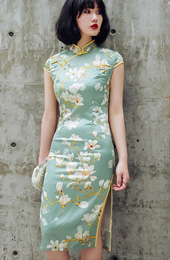 Green Qipao / Cheongsam Dress in Magnolia Print