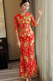 Half Sleeve Sequined Qun Kwa with Phoenix & Floral Embroidery